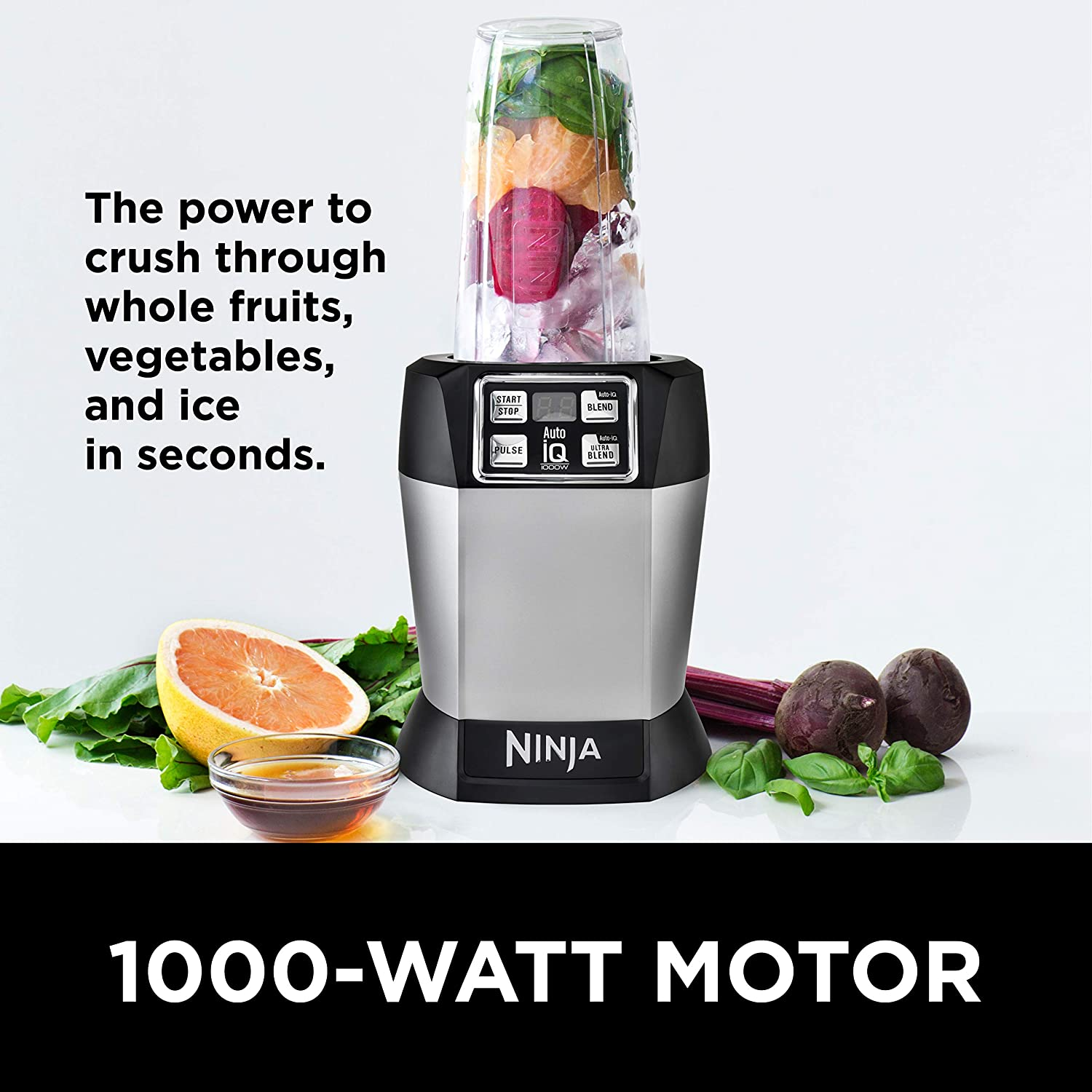 The Nutri Ninja Auto-IQ power is up to 1000 watts.