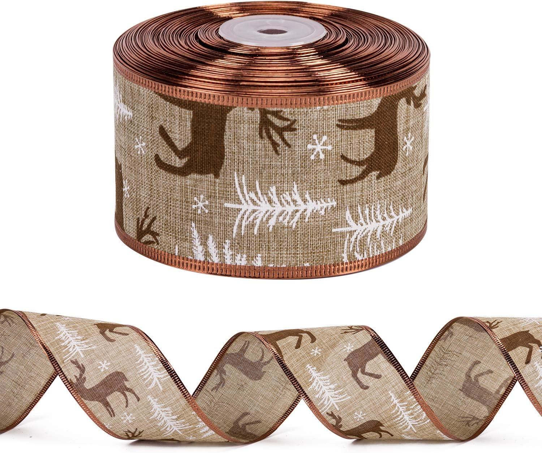 Cinta De Arpillera con Borde Cableado Elk Y Copo De Nieve RUSPEPA Cinta Navide/ña Navide/ña Cableada 63 mm X 22 m Cada Rollo