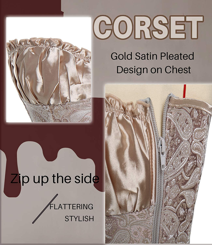 COMFREE Bustini e Corsetti da Donna Overbust Corsetto Dimagrante Elegante Bustino Gotico alla Moda Plus Dimensioni Oro Nero