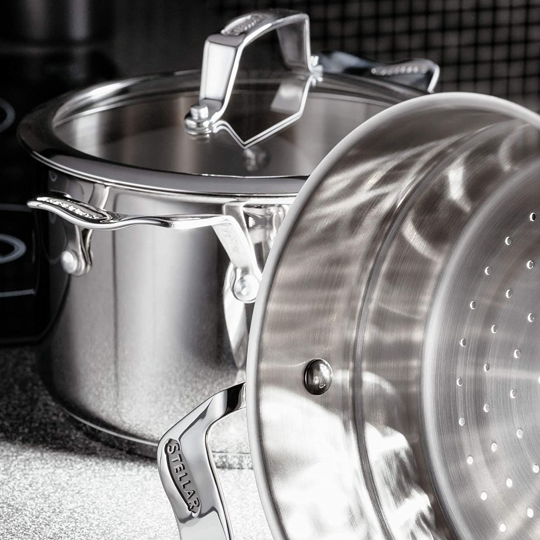Horwood STM01 16 cm 3-Niveles Juego de para cocinar al Vapor Plateado