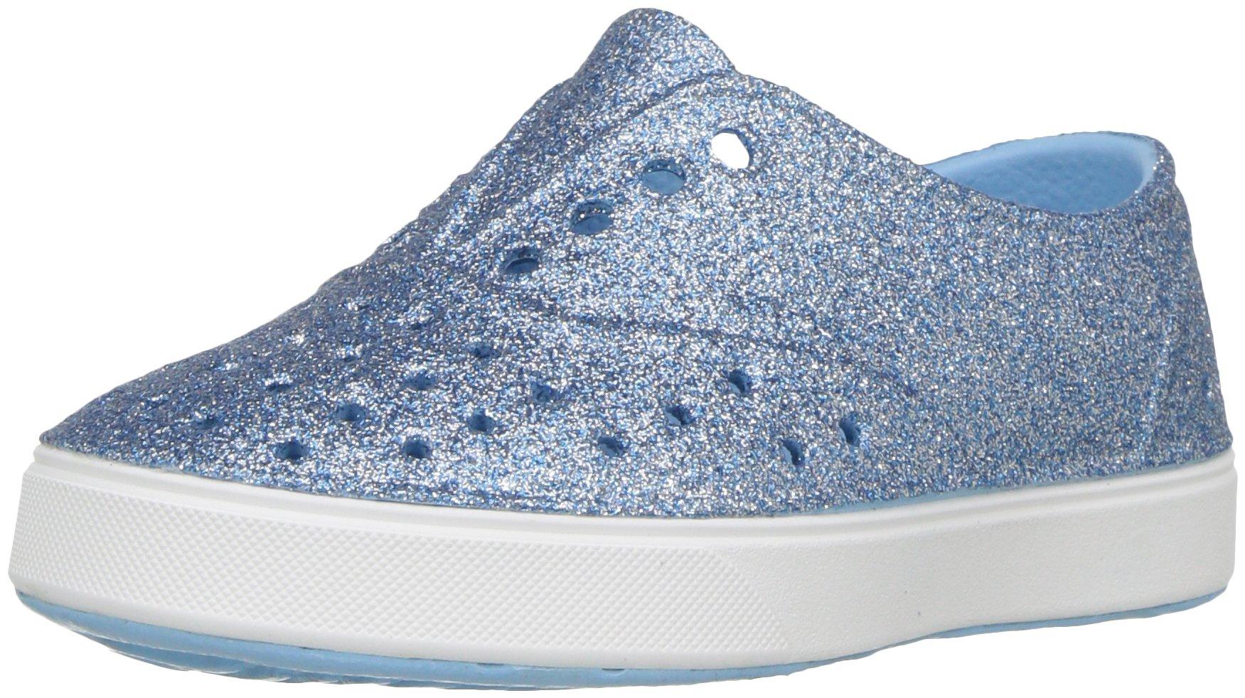 Native Kids Bling Glitter Miller Water Proof Shoes, Sky Bling/Shell White, 6 Medium US Toddler