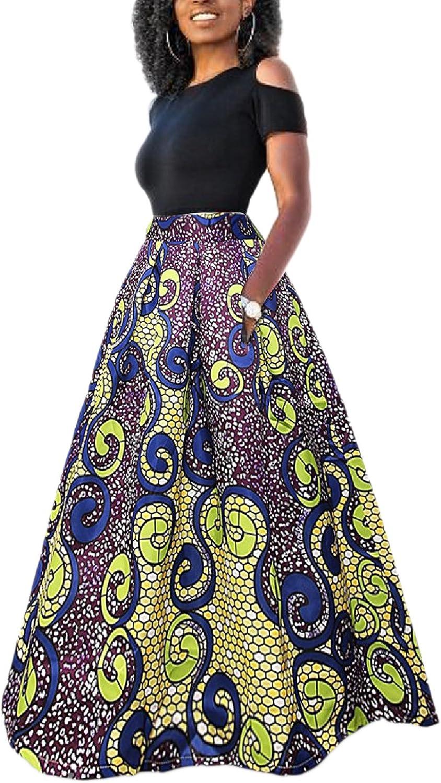 Yacun Femme Jupe Longue Africaine Robe Imprim/é Floral Deux Pi/èces Traditionnelle