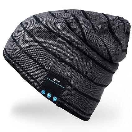 Rotibox Cappello Beanie Bluetooth, Cappellino Trendy Knit Short Trendy con Auricolare Bluetooth Headphone Auricolare Audio Music Hands-free chiamata telefonica per Outdoor Sport Fitness Ginnastica Workout Regalo di Natale - Grigio