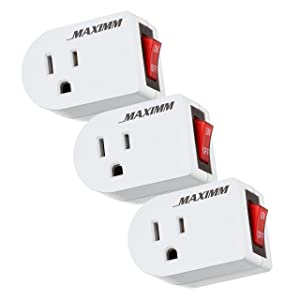 Maximm 3-Pack Grounded Outlet Plug-in Power on/Off Switch, On Off Outlet Adapter, for Indoor Extension Cords, Lights and Small Appliances, Energy Saving, ETL Listed, White