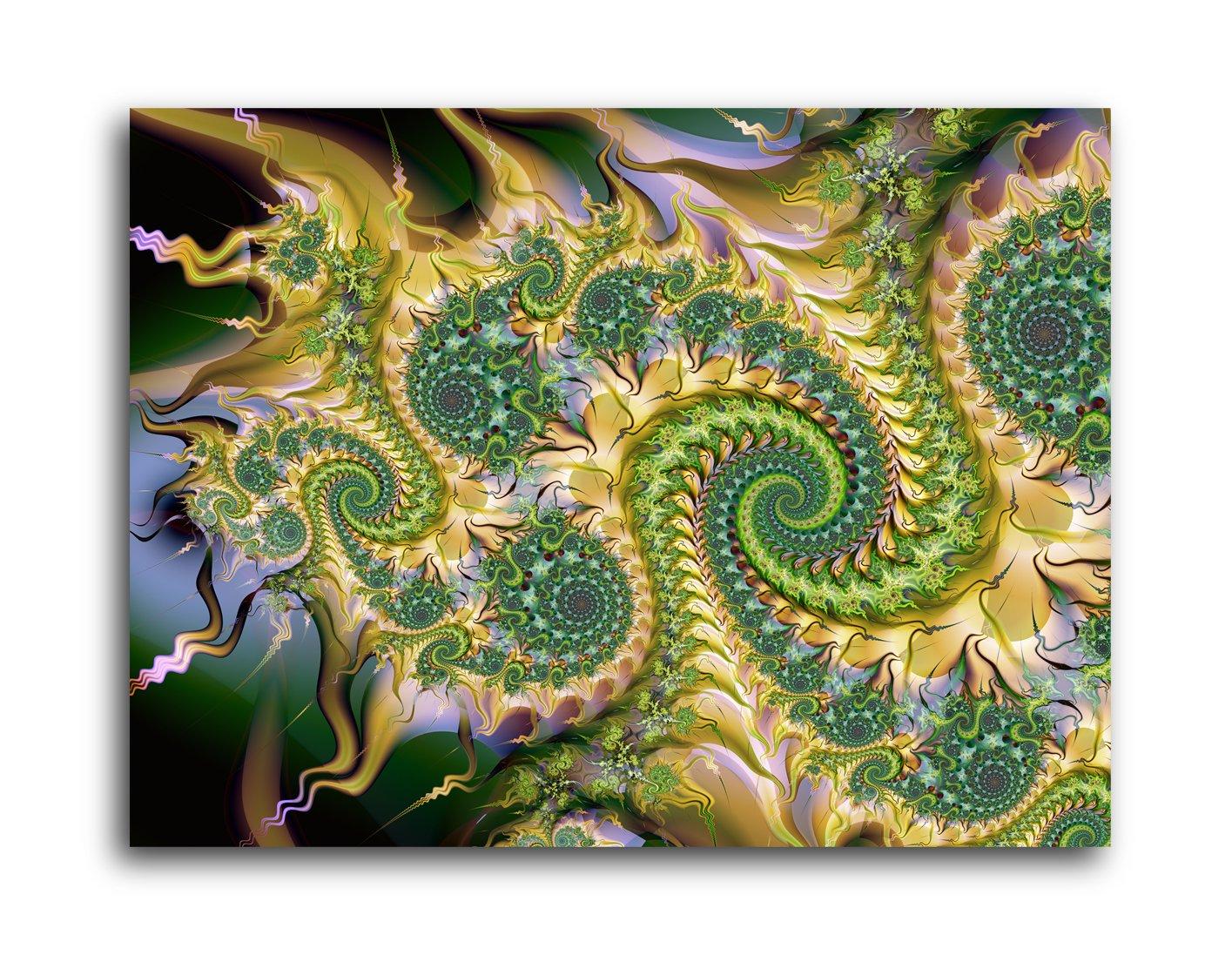 Amazon.com: Green Fractal Spirals Abstract Art Brushed Aluminum ...