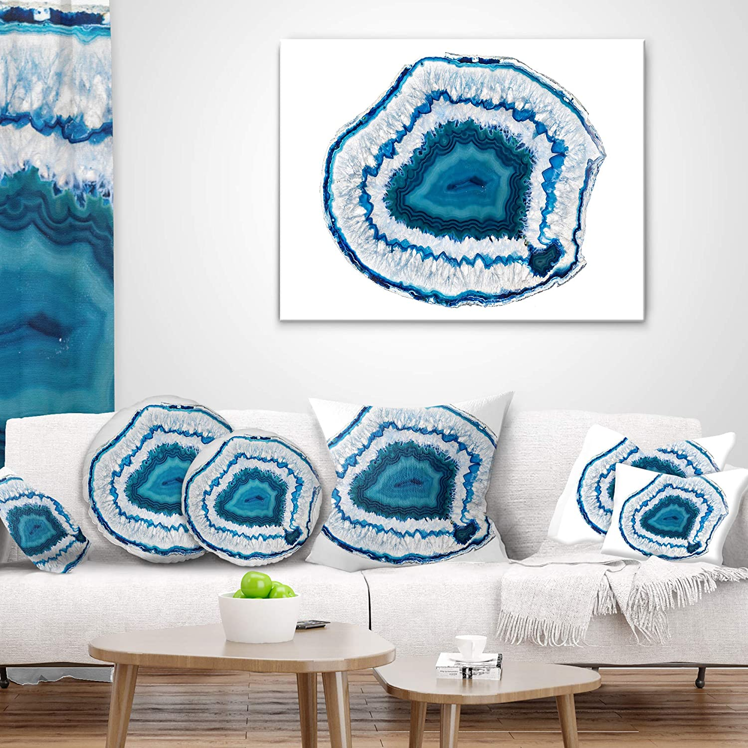 Sofa Throw Pillow 12 in Designart CU14378-12-20 Blue Agate Crystal Abstract Lumbar Cushion Cover for Living Room in x 20 in