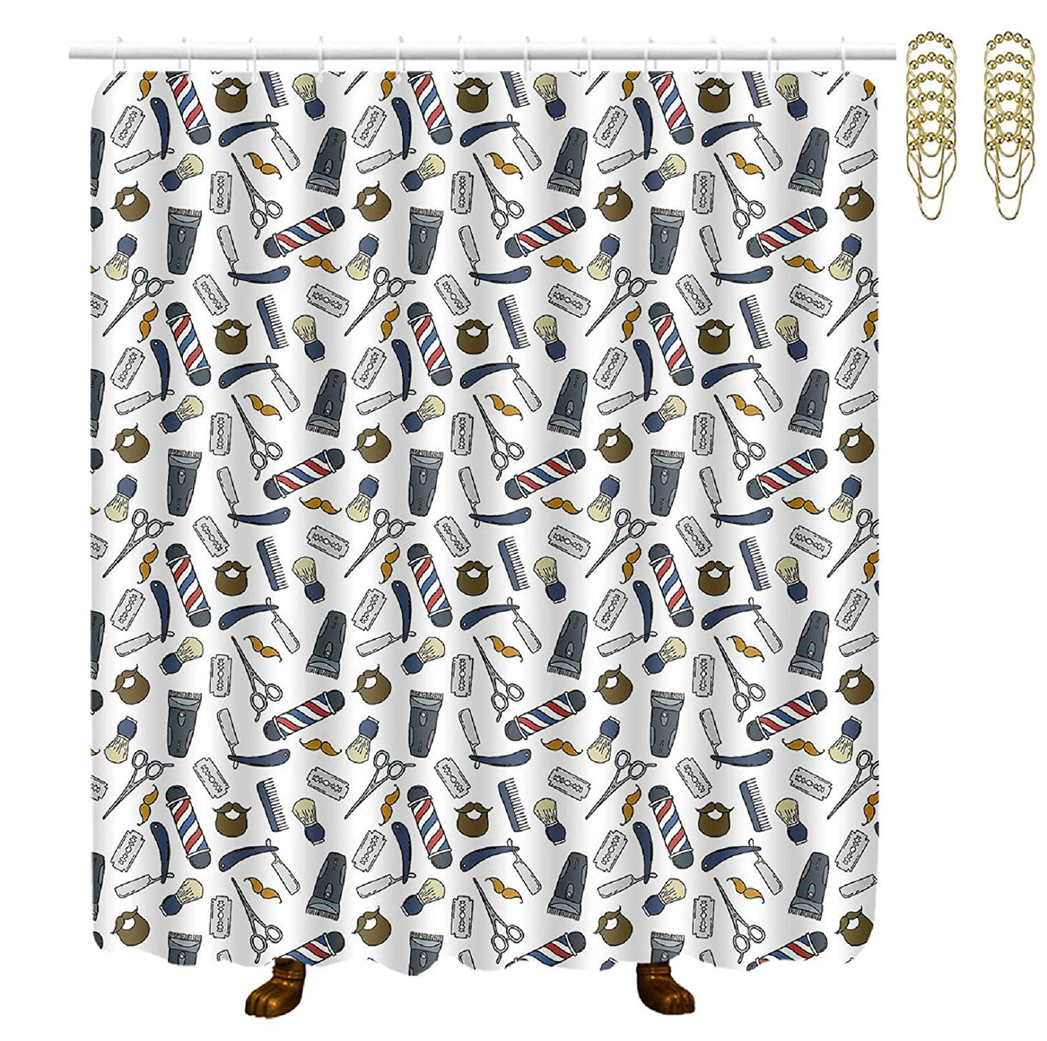COVASA Decorative Water Repellant Shower Curtain 72x72 Inches Comes with 12 Hooks (Barber Tools)