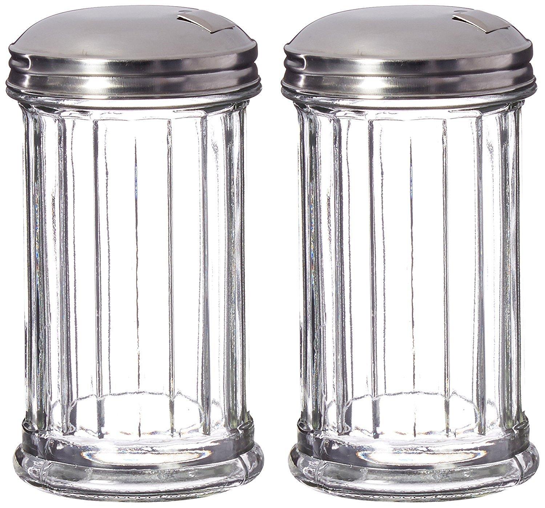 DuraWare Retro Style Sugar Dispenser/Pourer/Shaker, Glass Jar, Stainless Steel Pour-Flap Lid, 12 oz, Set of 2