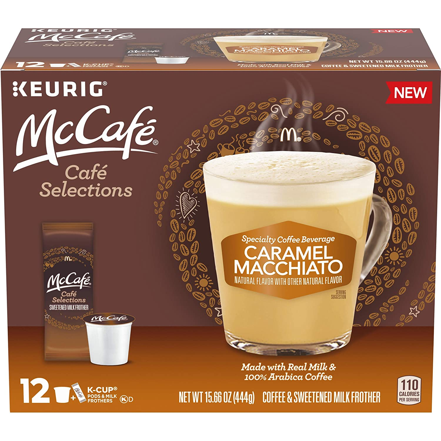 McCafe Cafe Selections Caramel Macchiato Coffee Keurig K Cup Pods & Froth Packets, 12 ct Box, 15.28 Ounce