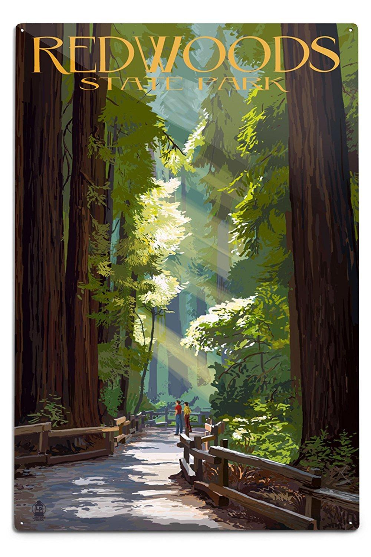 レッドウッドState Park – Pathway In Trees 12 x 18 Metal Sign LANT-36960-12x18M B06Y1KB65D 12 x 18 Metal Sign12 x 18 Metal Sign