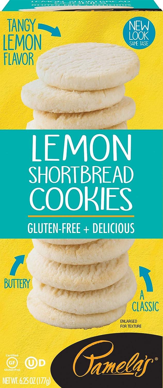 Pamela's Lemon Shortbread Gluten Free Cookies, 6.25 oz boxes, 6 Count