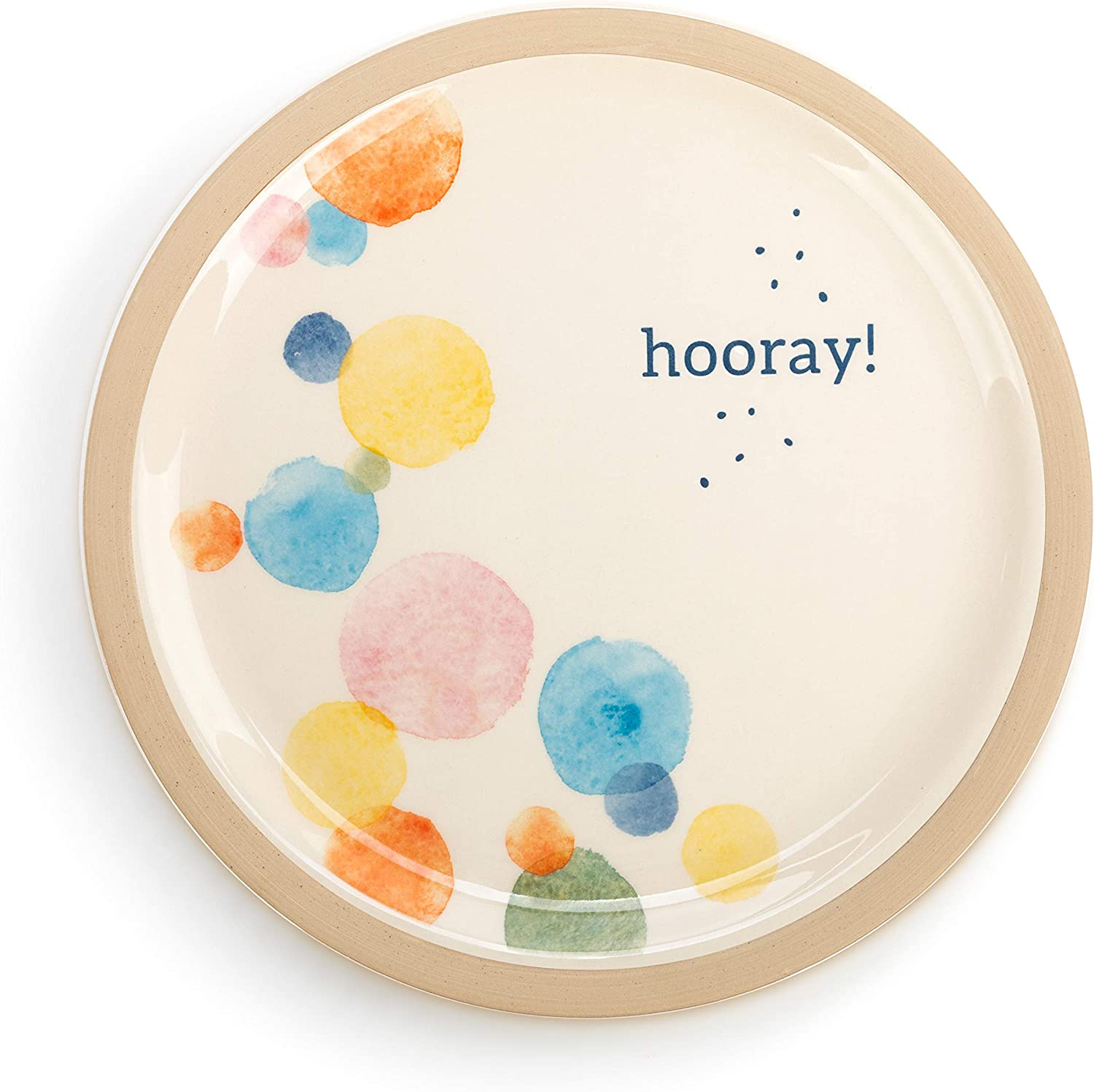 Demdaco Hooray Colorful Dots 9 x 9 Stoneware Decorative Serving Plate