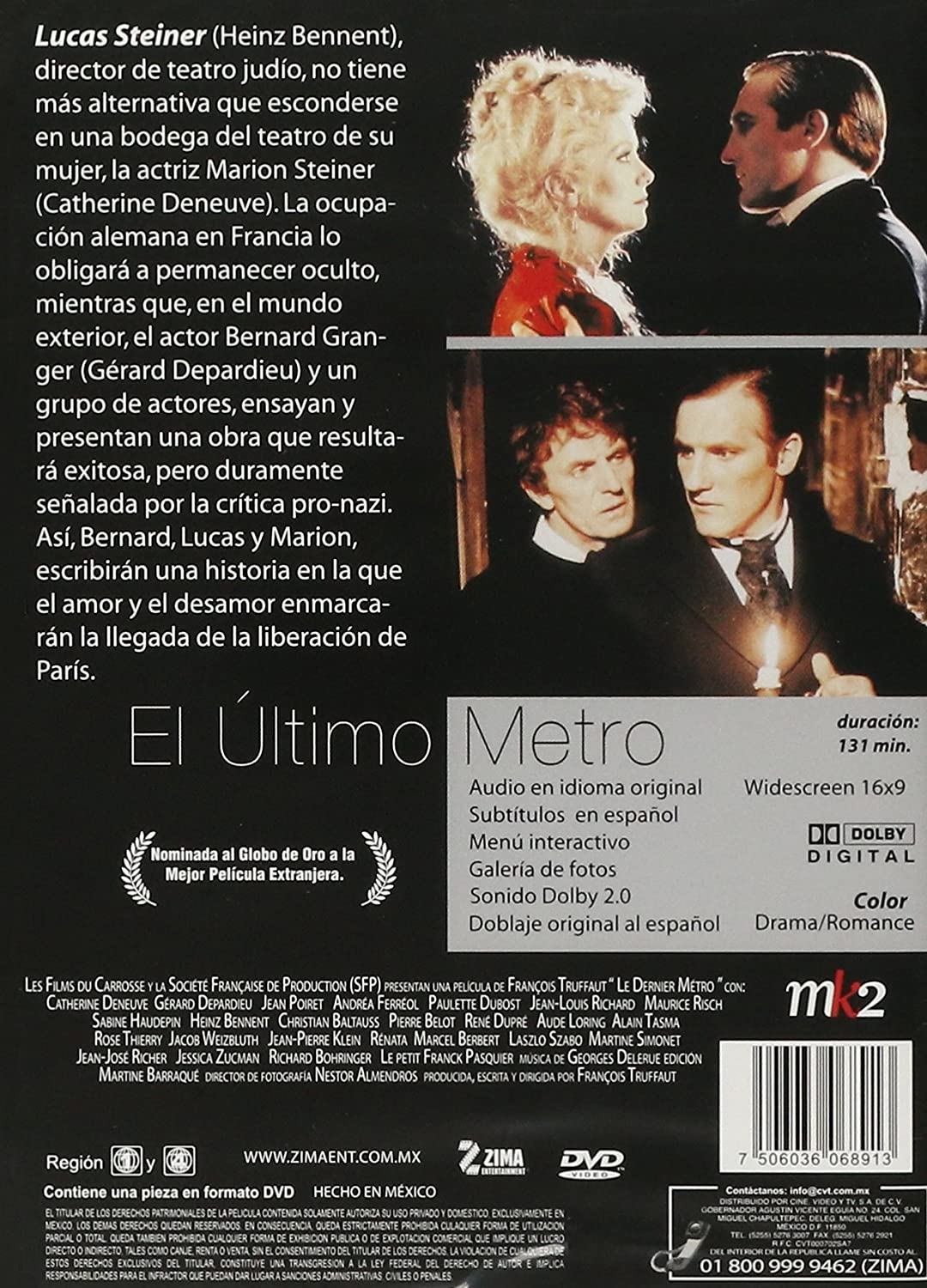 Amazon.com: El Ultimo Metro (Le Dernier Métro) [*Ntsc/region 1 & 4 Dvd. Import-latin America - Mexico] Catherine Deneuve (Spanish subtitles): Catherine ...