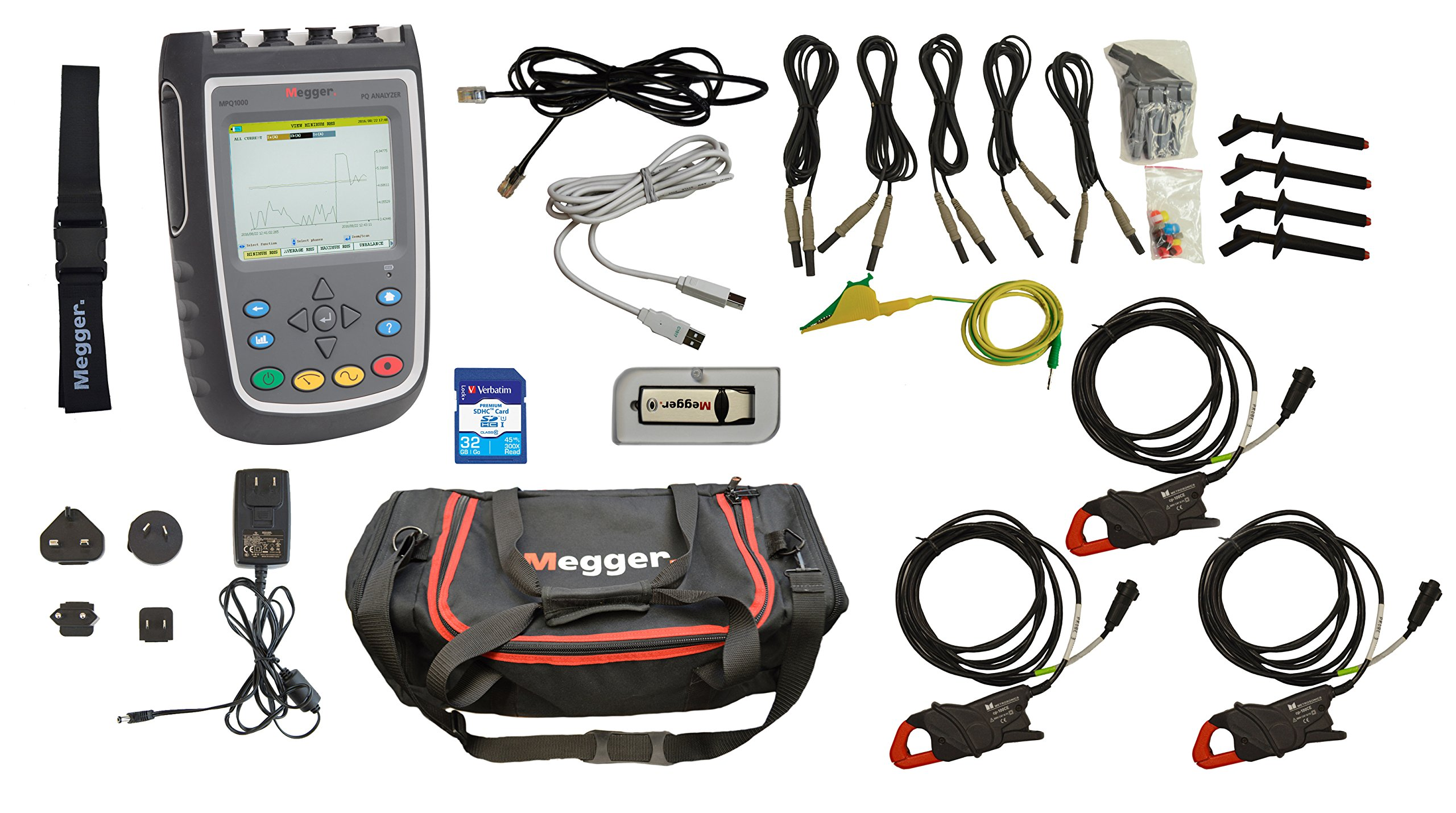 Megger MPQ1000-B-KIT Power Quality Analyzer, 6.89'' Width, 9.85'' Length