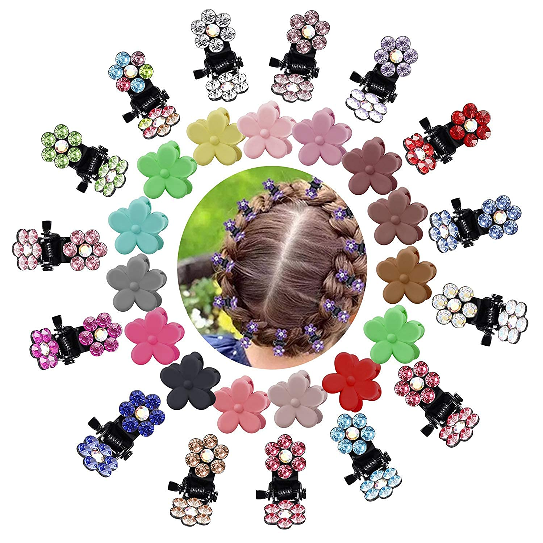 Finrezio 60 Piezas Cristal Diamante De Imitaci/ón Mini Flor Clip De La Garra del Pelo para Beb/é Ni/ña Peque/ña Pinzas para El Pelo Accesorios para El Cabello para Ni/ños Sin Aguja
