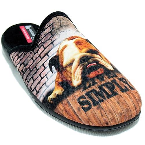 Vulcabicha 1611-C - Zapatillas de Estar por Casa Hombre con Bulldog Live Simply: Amazon.es: Zapatos y complementos