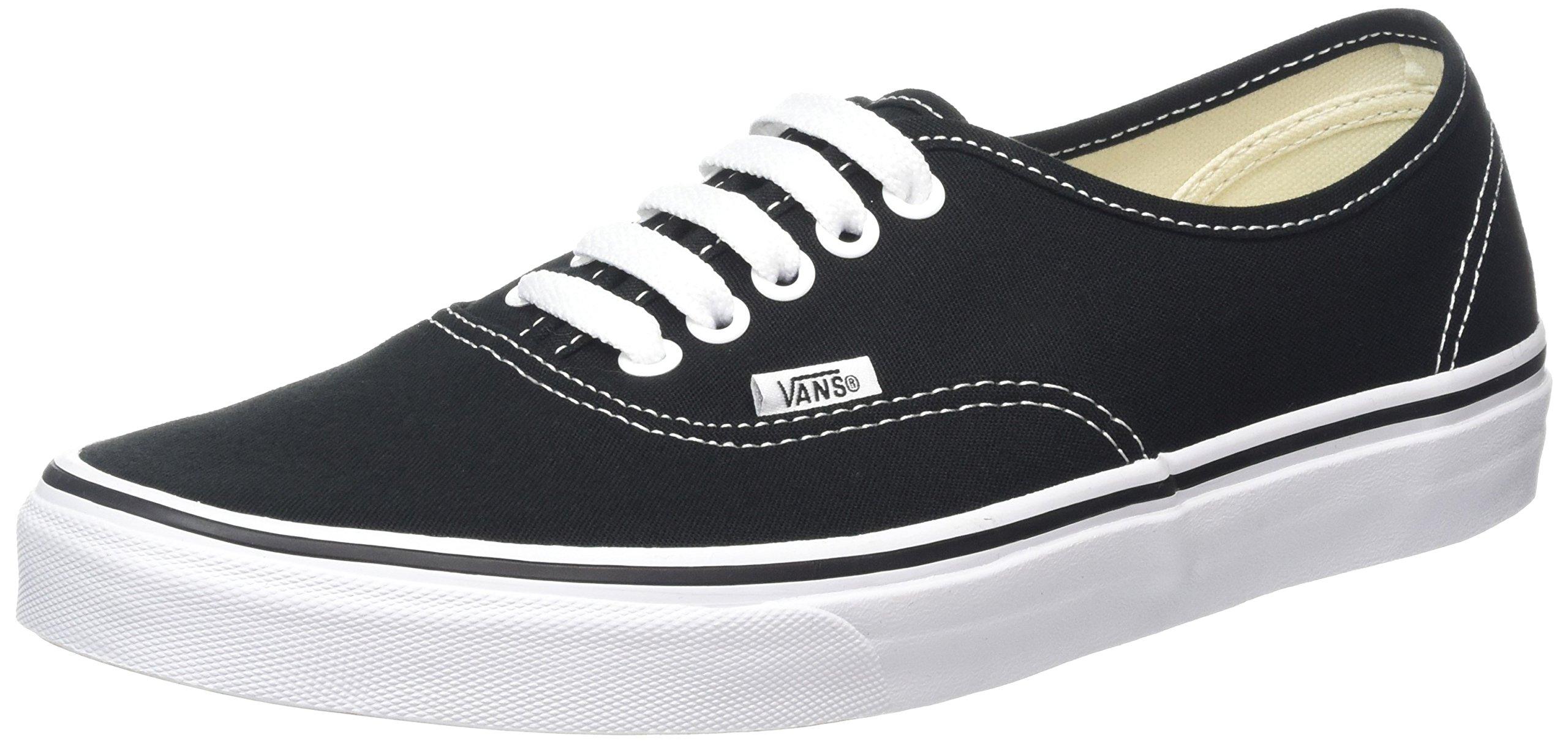 Vans Authentic Mens Womens Black White Canvas Skate Trainers, 6 UK