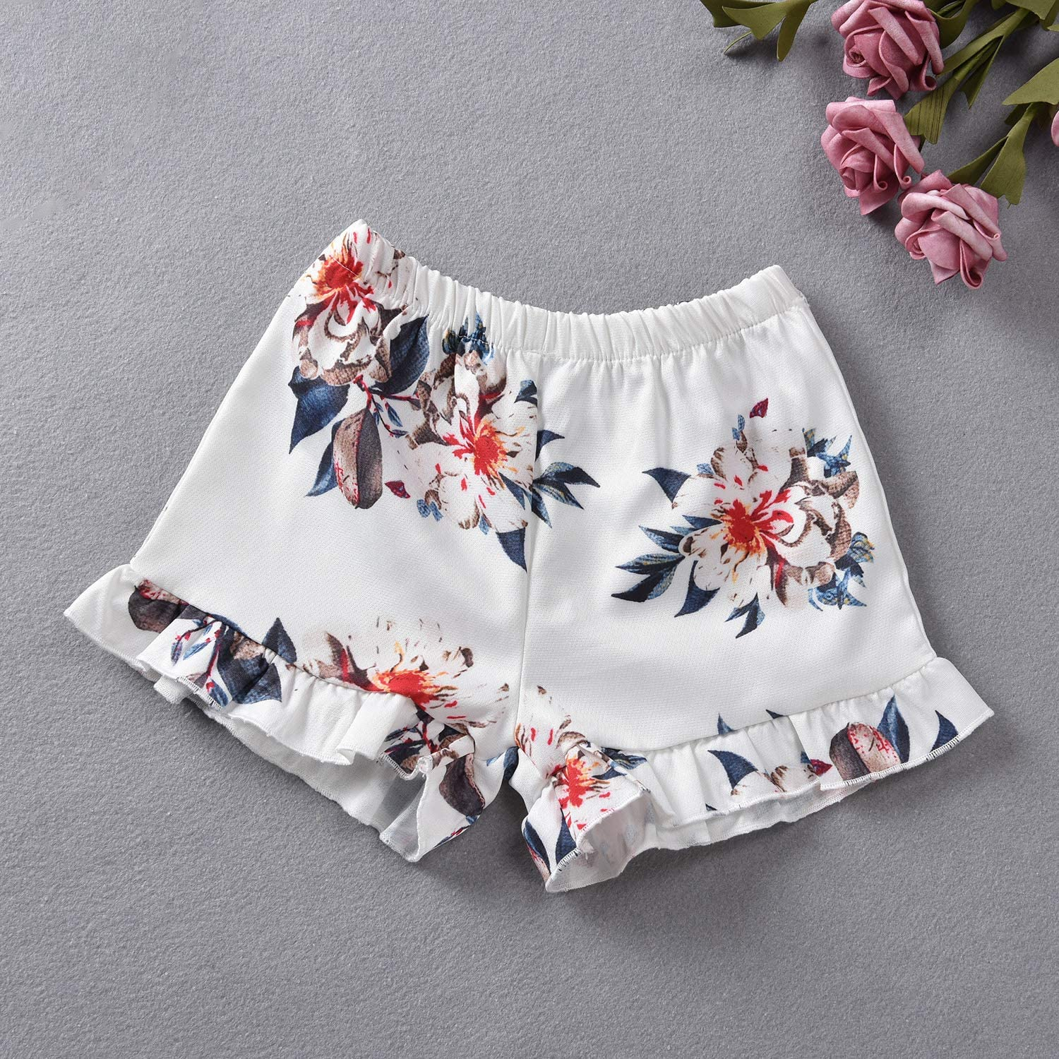 Toddler Baby Girl Floral Halter Ruffled Outfits Set Strap Crop Tops+Short Pants 2 PCS Clothes Set