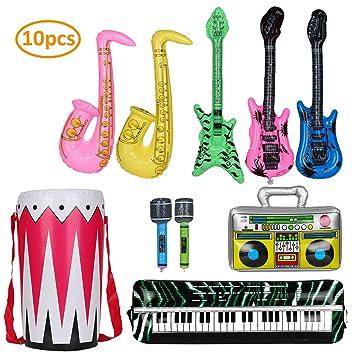 KATELUO 10 PCS Inflables de Juguete,Accesorios de los 80, micrófono Inflable, Accesorios para saxofón de Guitarra Adecuado para Decorar Globos de ...