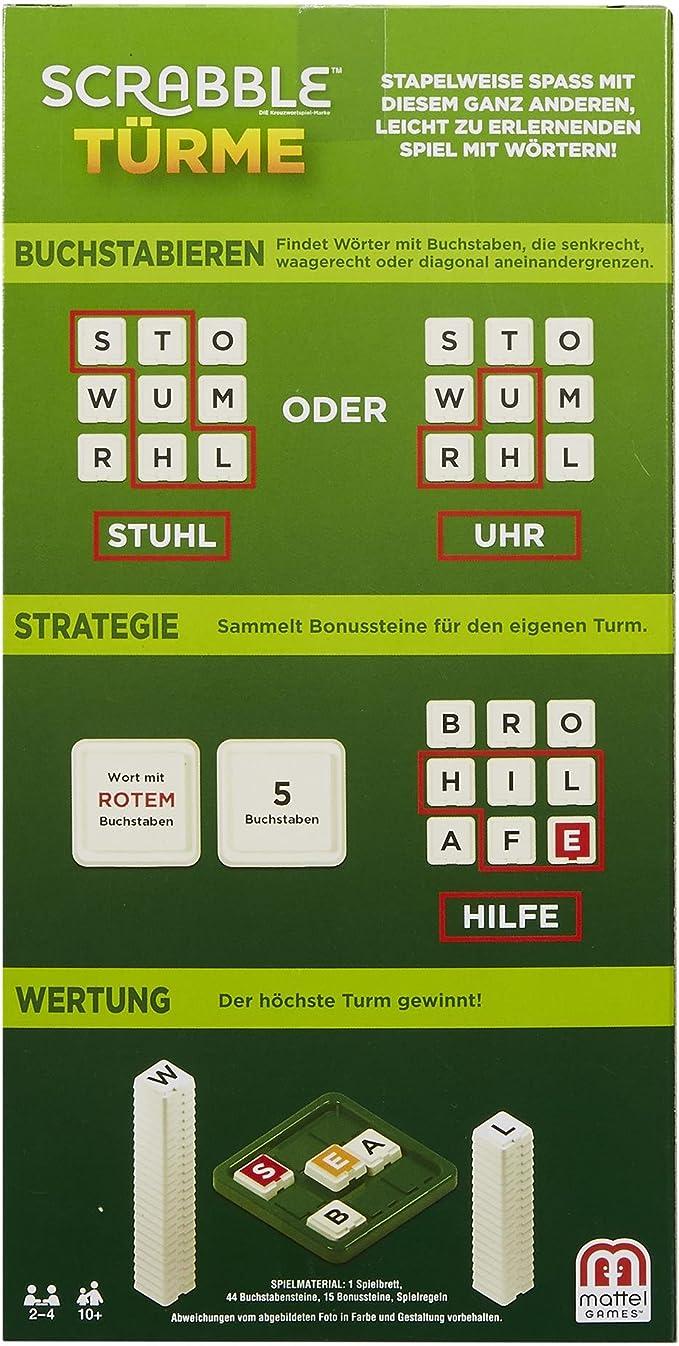 Mattel Games GCW07 Scrabble Türme - Juego de Palabras (Apto para 2-4 Jugadores, Tiempo de Juego Aprox. 20 Minutos, a Partir de 10 años.: Amazon.es: Juguetes y juegos