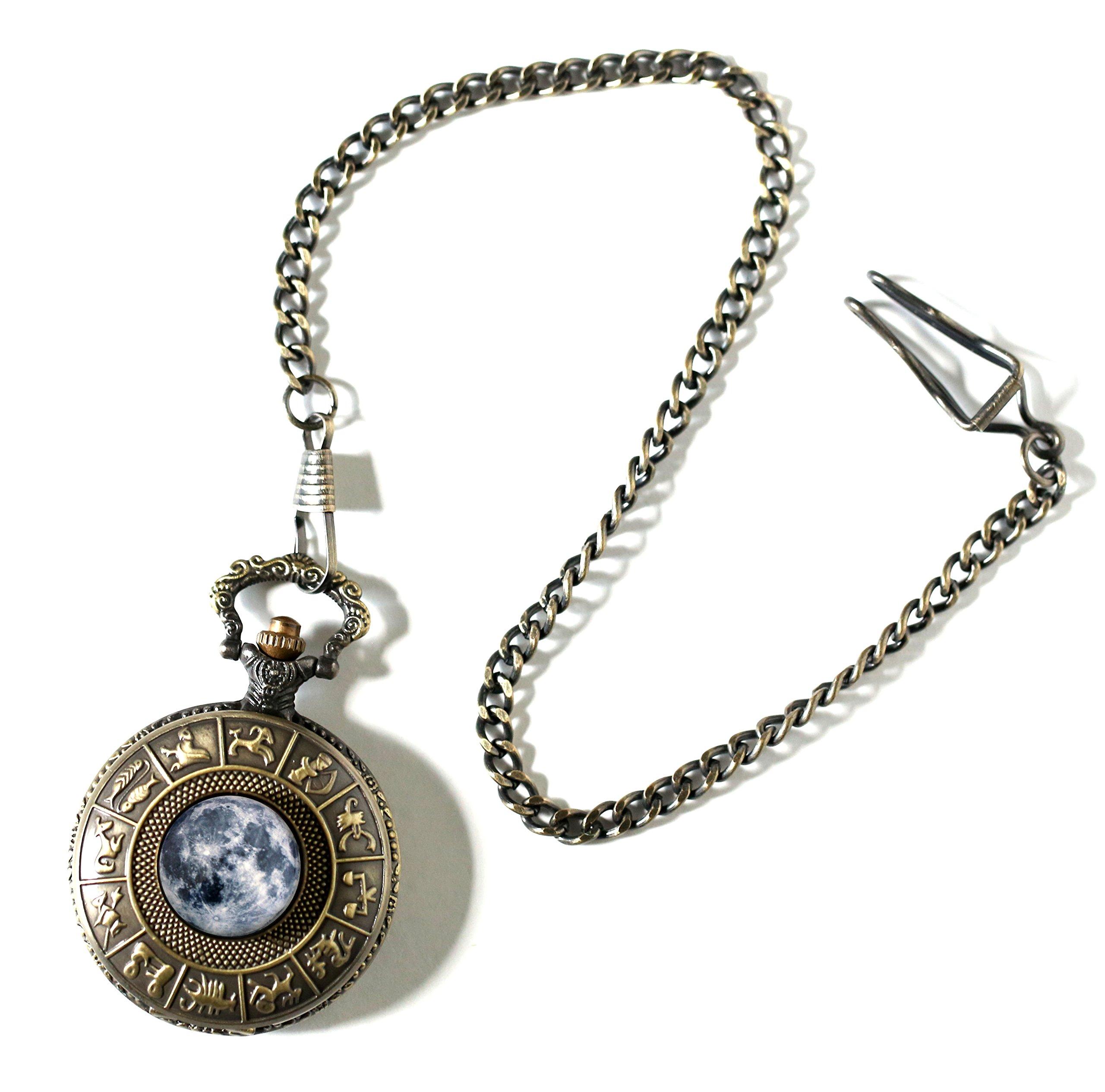 Moon Pocket Watch in Antique Bronze