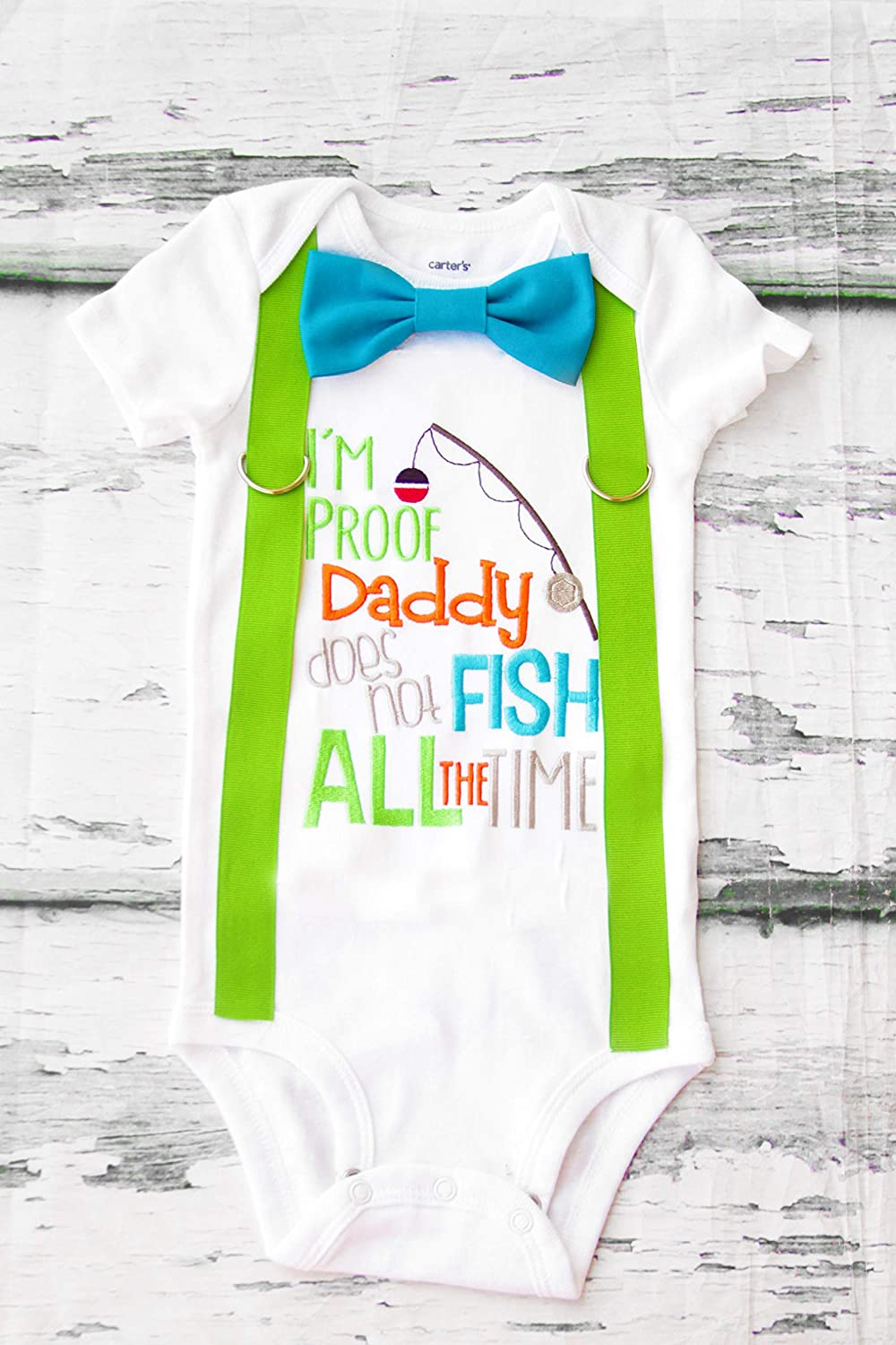 091c78eb13314 Amazon.com: Baby Boy Gift I'm proof daddy does not fish all the time ...