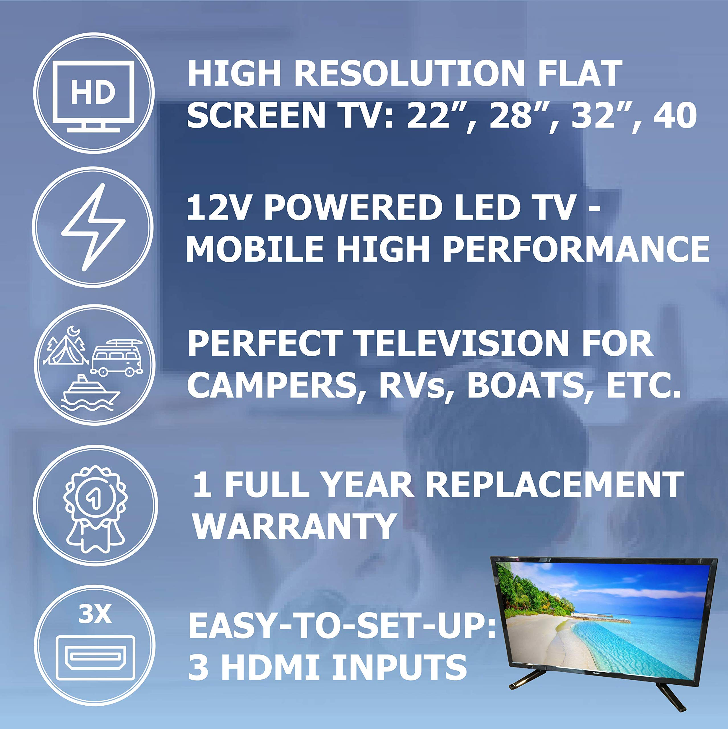 Free Signal TV Transit 32'' 12 Volt DC Powered LED Flat Screen HDTV for RV Camper and Mobile Use