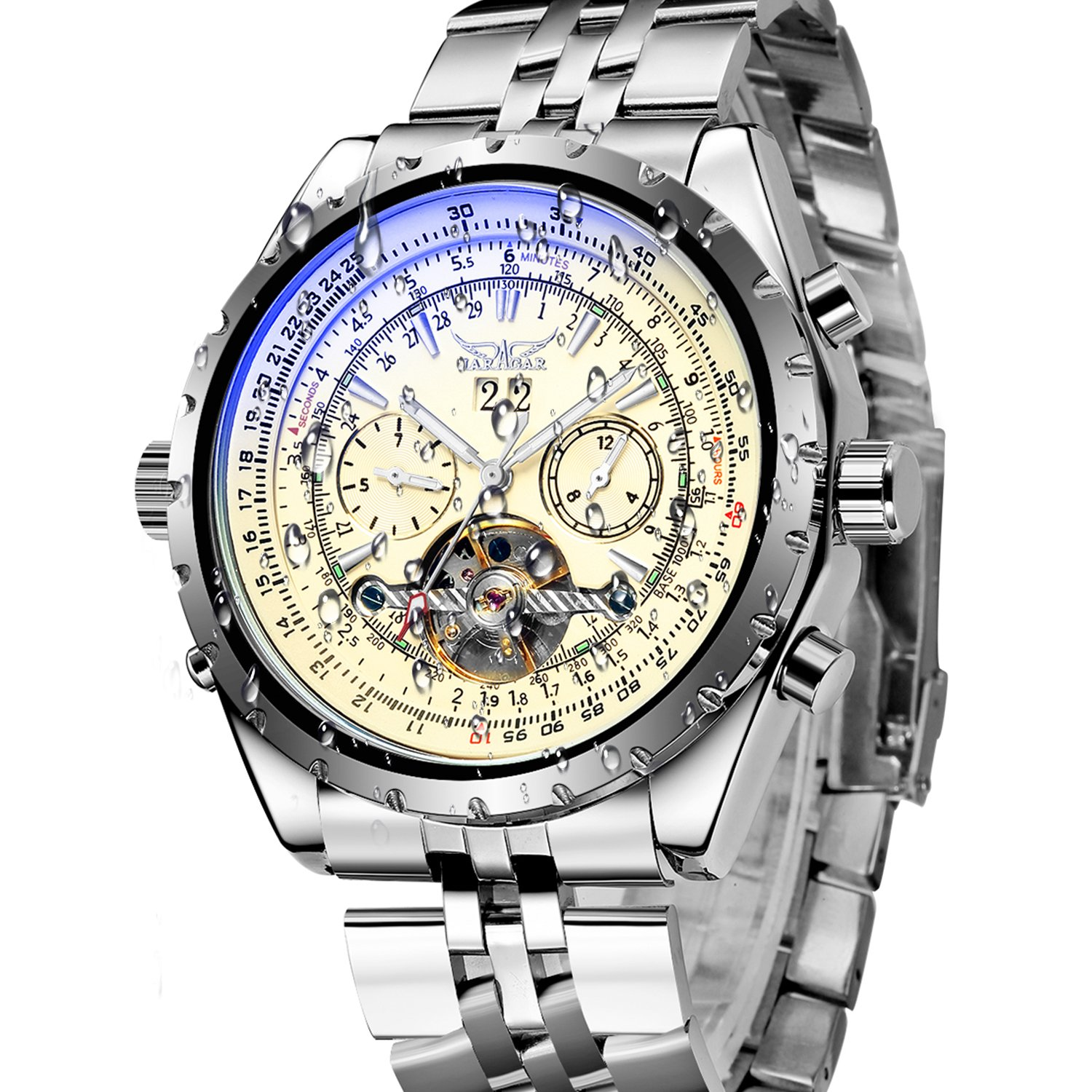 Amazon.com: Gute Pro Multi-Functional Automatic Mechanical Watch for Mens Chrome Steel Luminous Calendar (Beige Face): Watches