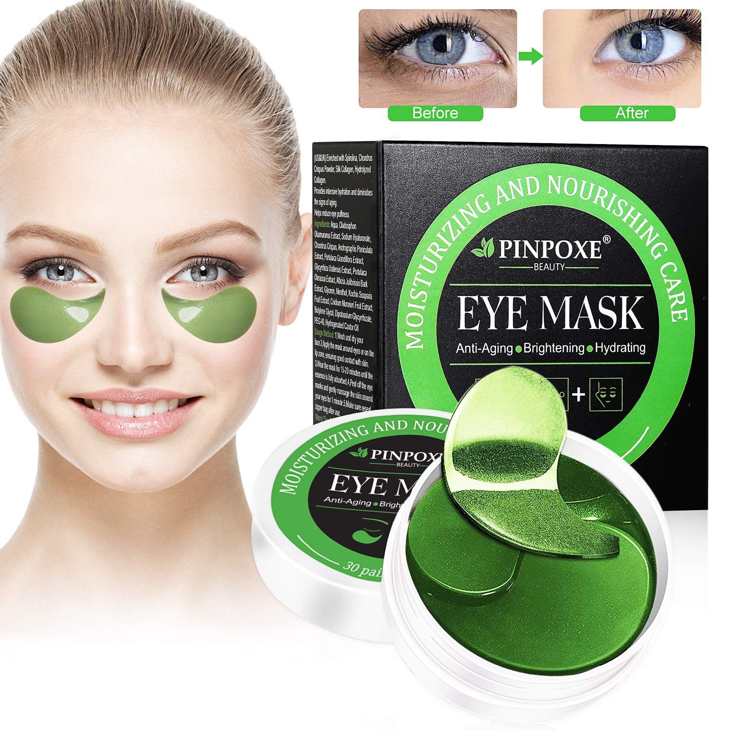 Under Eye Pads, Collagen Eye Mask, Eye Treatment Mask, Puffy Eyes, Eye Patches (30 Pairs) by BUOCEANS Official