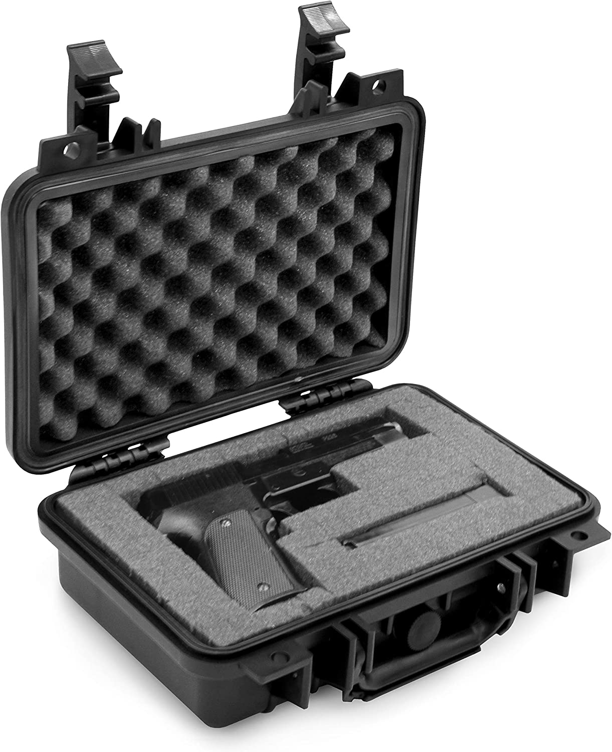 CASEMATIX Hard Gun Case for Pistols - Waterproof & Shockproof Gun Cases for Pistols, Compact 9mm Gun Case for Carrying Handgun with Scope and Accessories