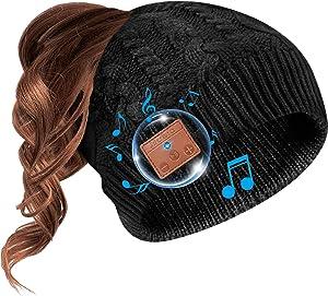 Beanie Hat Bluetooth Headphone Ponytail Warm Beanies for Women Built-in Mic