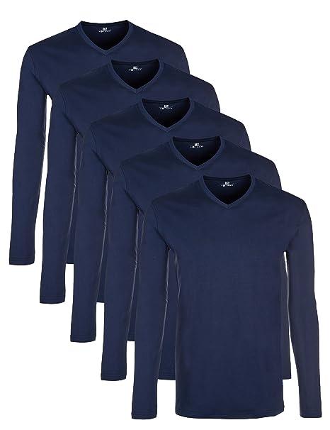 Weißschwarz Mehrfarbig Camiseta Larga Manga De Pack 5 Hombre nzxqv8wBaq