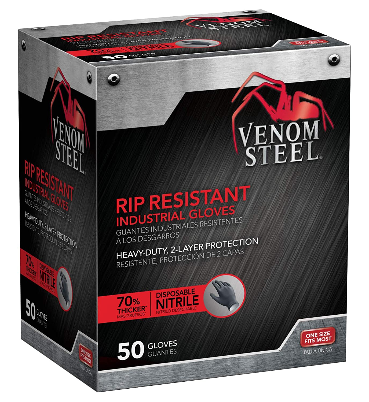 Pack of 100 6 mil Thick 2 Layer Gloves Venom Steel Nitrile Gloves Medium Rip Resistant Disposable Latex Free Black Gloves