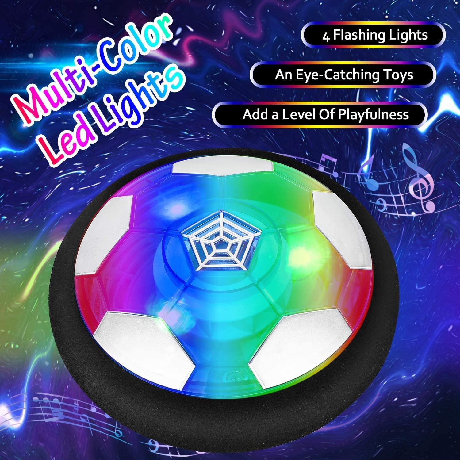 Kids Toys Hover Soccer Ball Set with 2 Goals, Air Soccer with LED Light, USB Rechargeable Floating Soccer Ball with Foam Bumper for Indoor Outdoor Sports Ball Game, Football Toy for Boy Girl Best Gift: Toys & Games