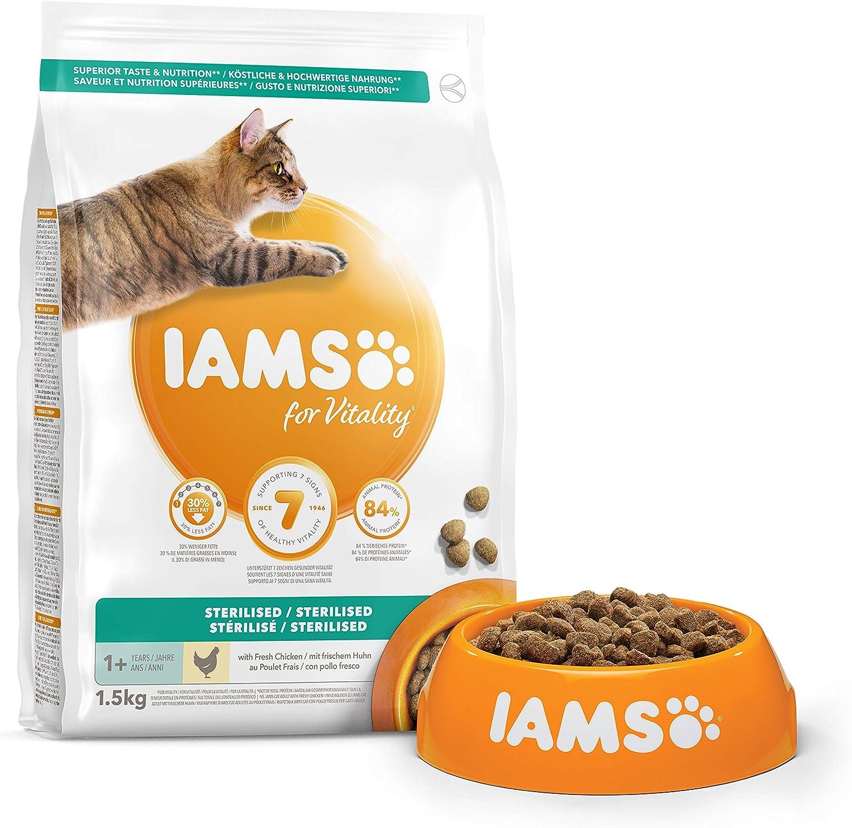 IAMS for Vitality Light in Fat/Esterilizado Alimento para gatos con pollo fresco [1,5 kg]: Amazon.es: Productos para mascotas