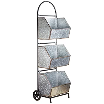 Incroyable American Art Decor 3 Tier Galvanized Metal Rolling Shelf Storage Bins