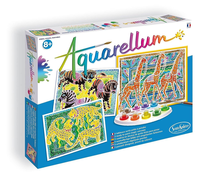 SentoSphere Aquarellum - Zebras, Giraffes & Panthers - Arts and Crafts Watercolor Paint Set Sento Sphere 3906040