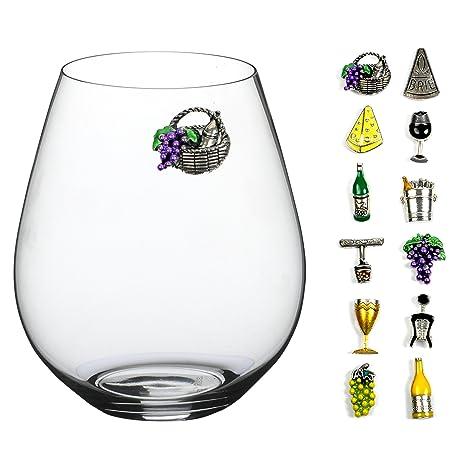 Amazon.com: Vino y queso magnético Vino encantos de vidrio ...