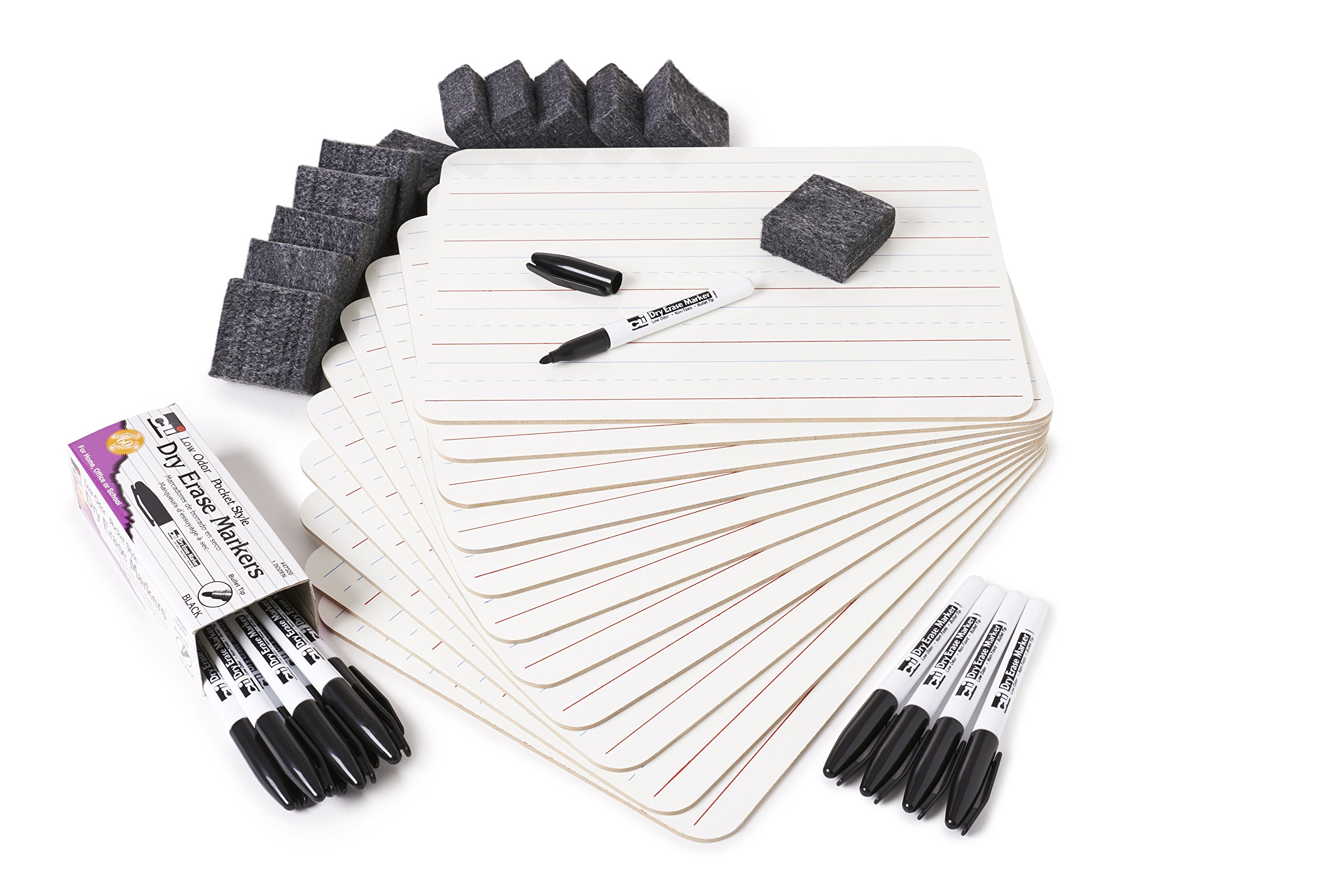 Charles Leonard Dry Erase Board Class Pack, Includes 12 Plain/Lined 2-Sided Boards, 12 Erasers and 12 Black Markers, 1 Class Pack per Box (35030)
