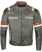 Men's Vintage Cafe Racer Motorcycle Distressed Leather Armor Biker Jacket XL