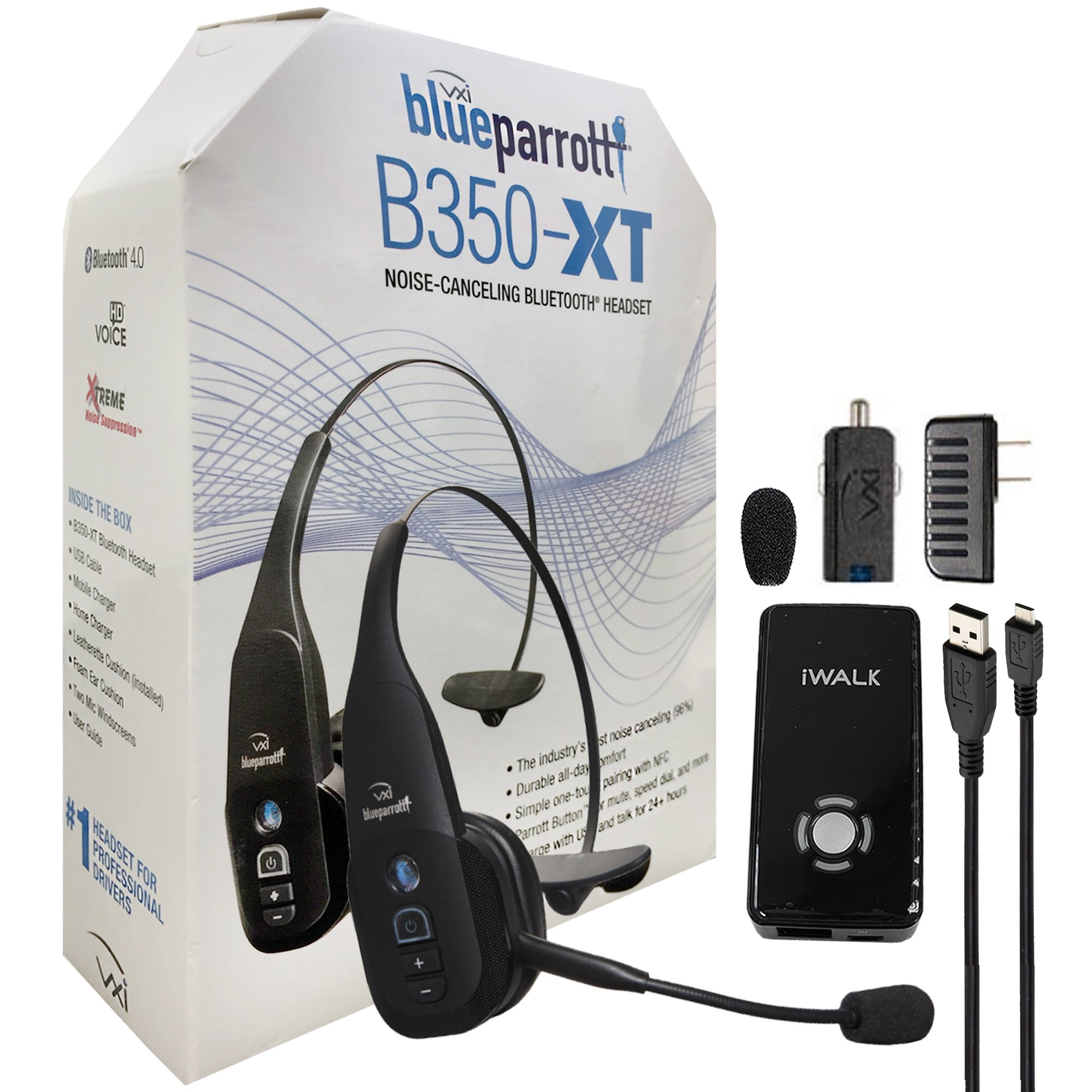 VXi B350-XT 203475 BlueParrott Noise Canceling Bluetooth ''HD'' Headset For iOS & Android - with Home/Car Charger & iWalk Battery Pack Charger (Retail Packing Kit)