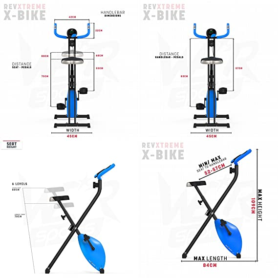 We R Sports X-Bike Blue - Elíptica de fitness (plegable, imán, magnético), color azul: Amazon.es: Deportes y aire libre