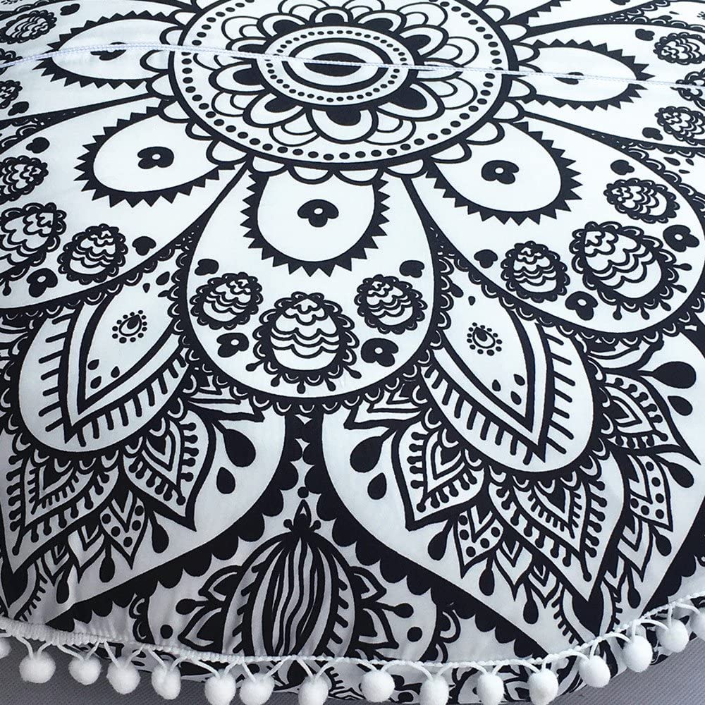 Digood Large Round Pillow Cover Decorative Mandala Pillow Sham Camel and Peacock Designs Indian Bohemian Ottoman Poufs Cover Pom Pom Pillow Cases Outdoor Cushion Cover Black Diameter 28 Inch