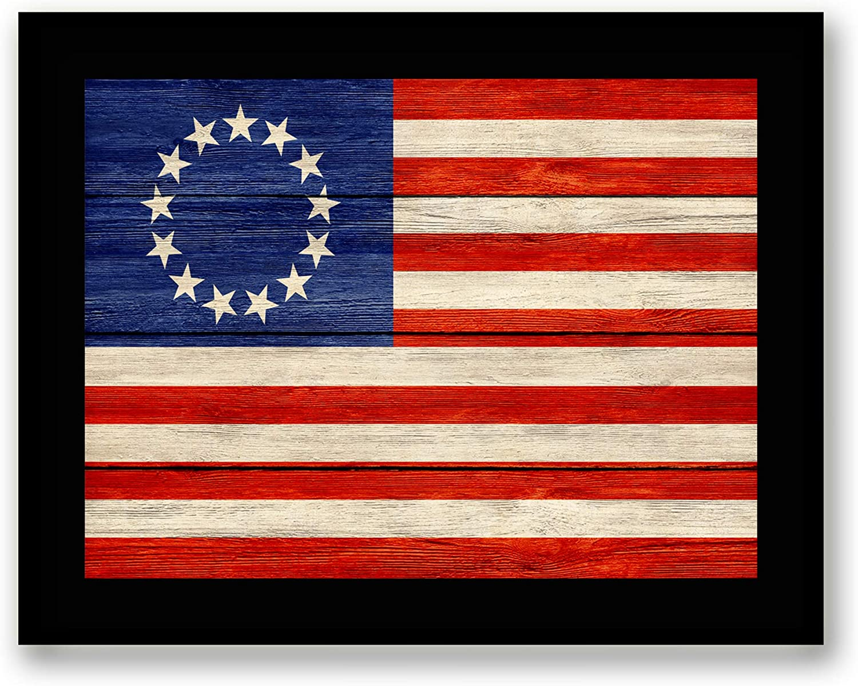 Revolutionary War 13 Colonies Flag - FRAMED - Flag Decor Canvas Print Home Decor Wall Art, Black Real Wood Frame, 7x9