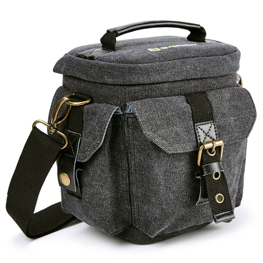 Camera Bag Evecase Compact DSLR / SLR Digital Camera Holster Carrying Case - Gray Small Canvas For Compact System, Micro 4/3, Mirrorless, High Power Zoom Camera, Instant Camera
