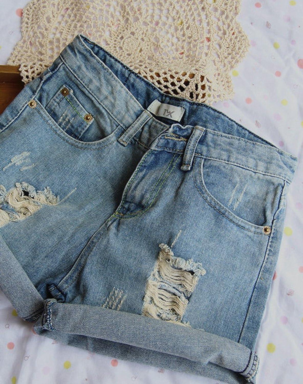 Minetom Donne Ragazza Estate Casuale Jeans Vita Bassa Buco Bermuda Shorts Hot Pants Pantaloncini Pantaloni Corti Denim con Tasche