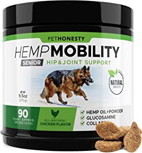 Senior Hemp Mobility - Hip & Joint Supplement for Senior Dogs - with Hemp Oil & Hemp Powder, Glucosamine, Collagen, MSM, Green Lipped Mussel, Dog Treats Improve Mobility, Reduces Discomfort - Chicken