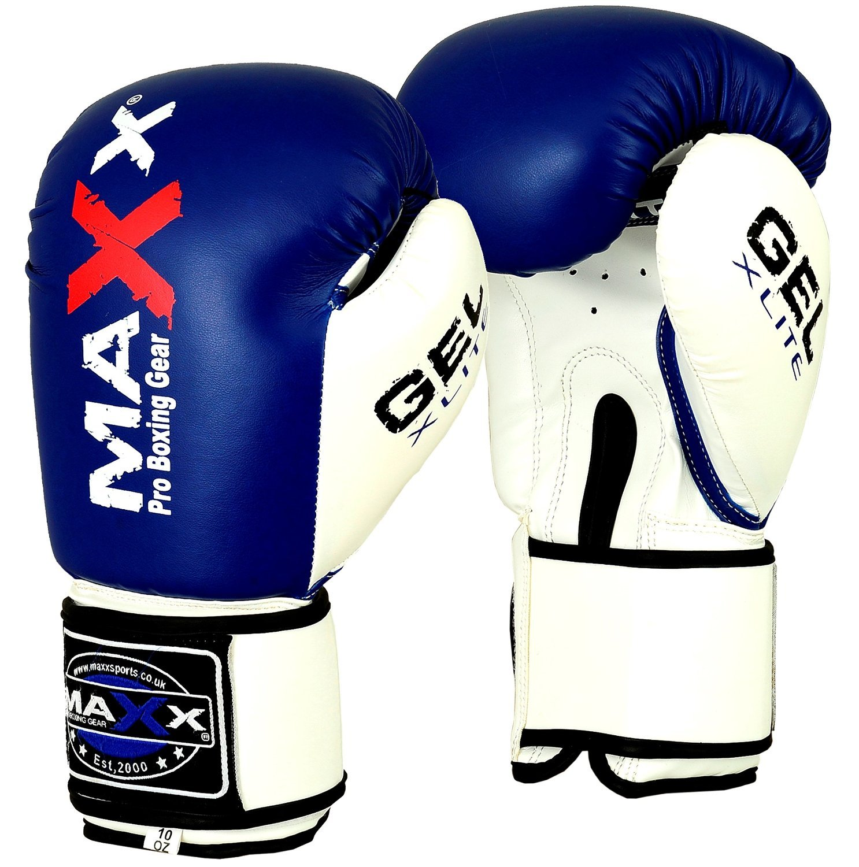 Maxx ブルー/ホワイト ボクシンググローブ ジュニア キッズ 大人用サイズ レックスレザー 4オンス 16オンス (12オンス)