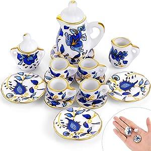 15 Pieces Miniature Porcelain Tea Cup Set Kitchen Miniature Porcelain Set Mini Flower Pattern Teapot Cup Plates Set Dollhouse Kitchen Accessories Set (Retro Flower Style)