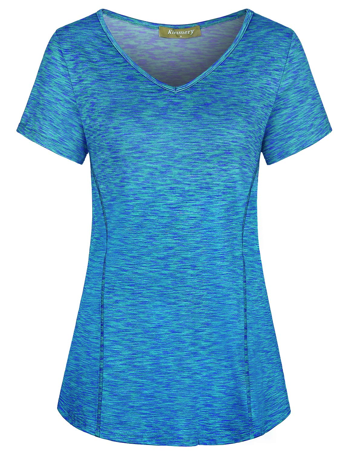 Kimmery Workout Shirts for Women, Breathe Free Stretchy Short V Neck Sleeve Tops Summer Daily Casual Outside Beach Walking Travel Vacation Wear Blue Large by Kimmery
